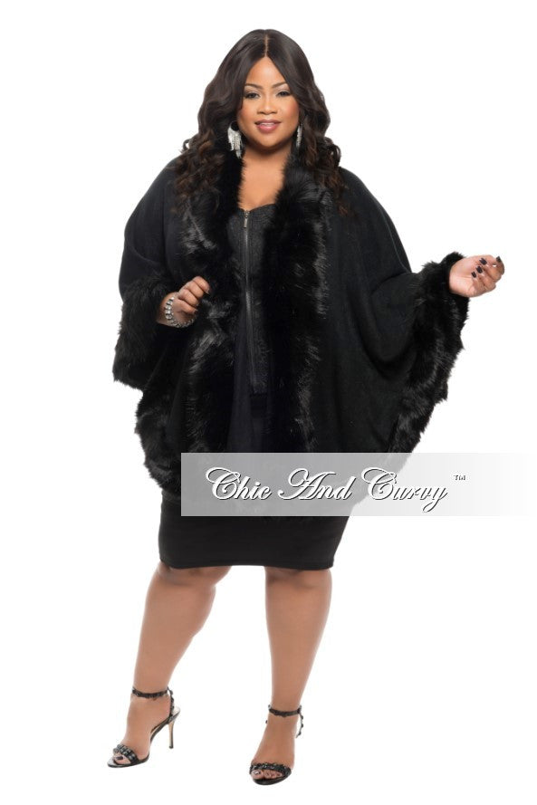New Plus Size Poncho w/ Faux Fur Trim in Black