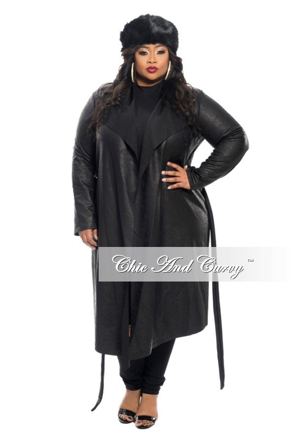 New Plus Size Trench Coat with Tie in  Black