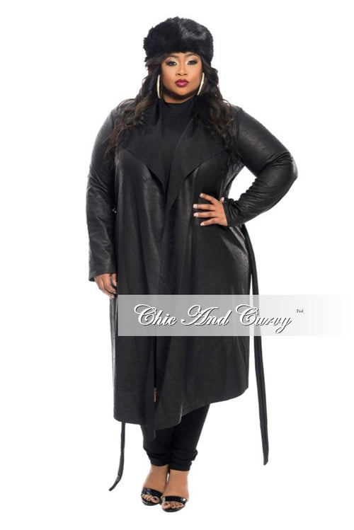 Final Sale Plus Size Trench Coat with Tie in  Black