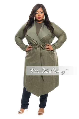 50% Off Sale - Final Sale Plus Size Trench Coat with Tie in  Olive Green