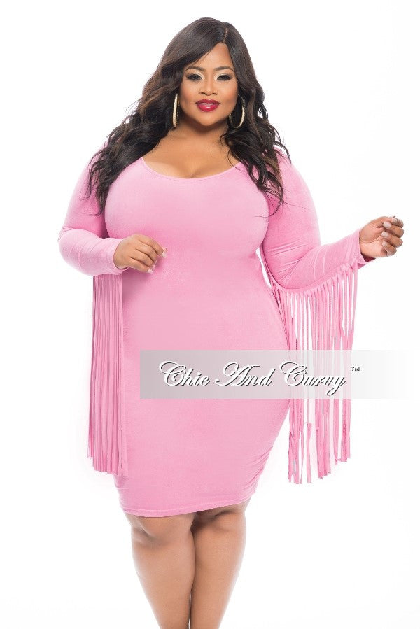 New Plus Size Faux Suede BodyCon with Fringe Sides in  Pink