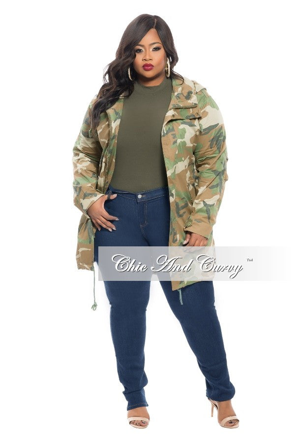 New Plus Size Trench Coat in  Camo Print