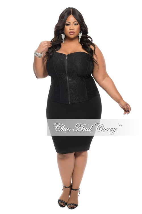 7a872842189 Final Sale Plus Size Strapless Corset Top with Zipper Front in Black 2