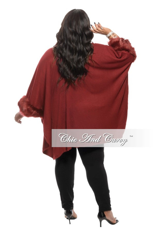 Final Sale Plus Size Coat with Faux Fur Collar and Cuff in Burgundy