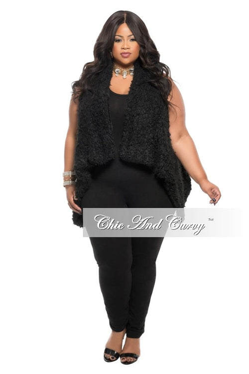 New Plus Size Faux Fur Plush Vest in Black