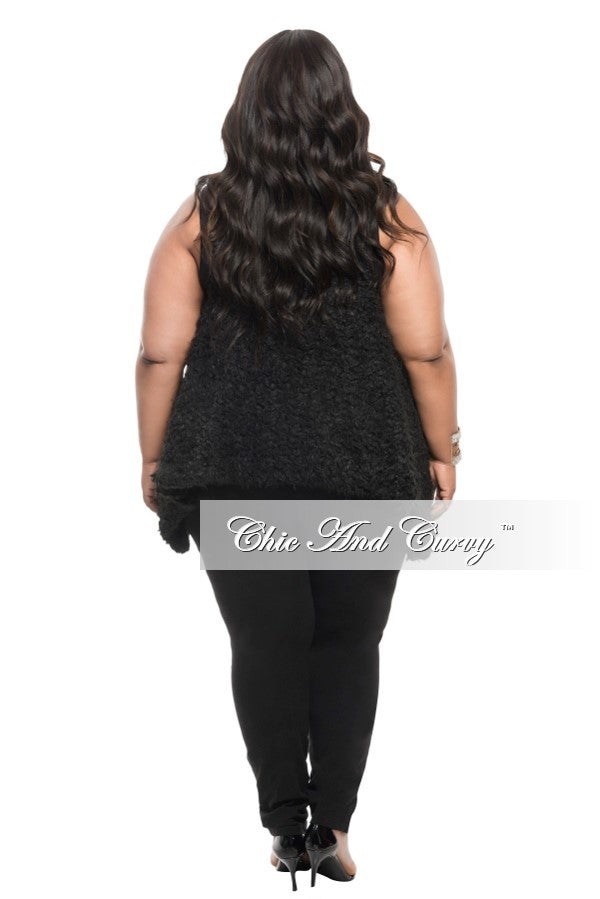 Final Sale Plus Size Faux Fur Plush Vest in Black