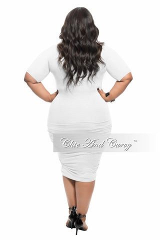 Final Sale Plus Size BodyCon with Half Sleeves and Ruched Sides in White