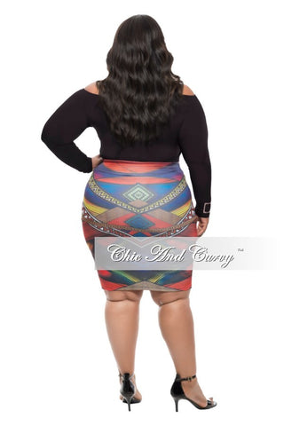 New Plus Size Pencil Skirt in  Blue and Red Print