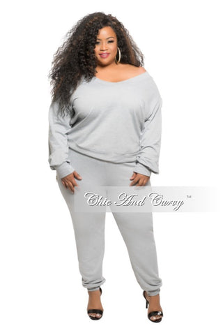New Plus Size 2-piece Off the Shoulder Top and Jogger Pant Set in Grey
