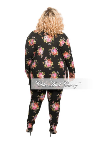New Plus Size 3-piece Jacket, Pant and Crop Top Set in Black Floral Print