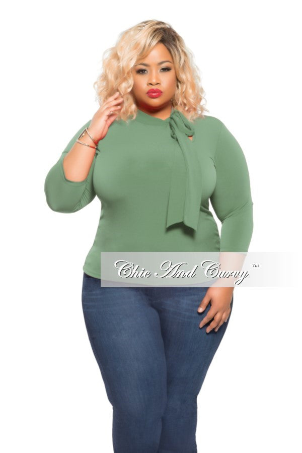 Final Sale Plus Size Top with Neck Tie in Olive Green
