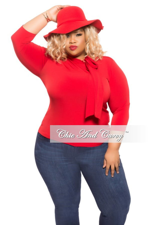 Final Sale Plus Size Top with Neck Tie in Red