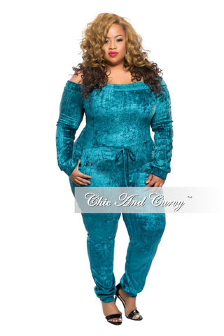 New Plus Size Off the Shoulder Jumpsuit with Tie in Turquoise