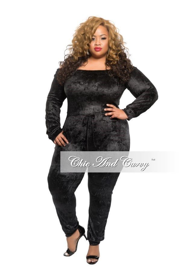 769034d0332510 Final Sale Plus Size Off the Shoulder Jumpsuit with Tie in Black – Chic And  Curvy
