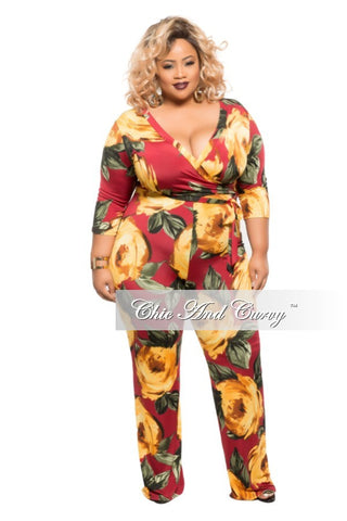 New Plus Size Wrapped Jumpsuit with Belt in Yellow Floral Print