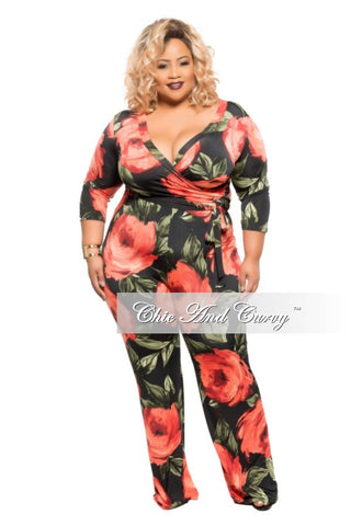 New Plus Size Wrapped Jumpsuit with Belt in Pink Floral Print