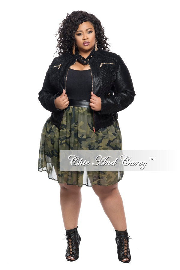 e6b8f87c408 New Plus Size Faux Leather Motorcycle Jacket in Black – Chic And Curvy