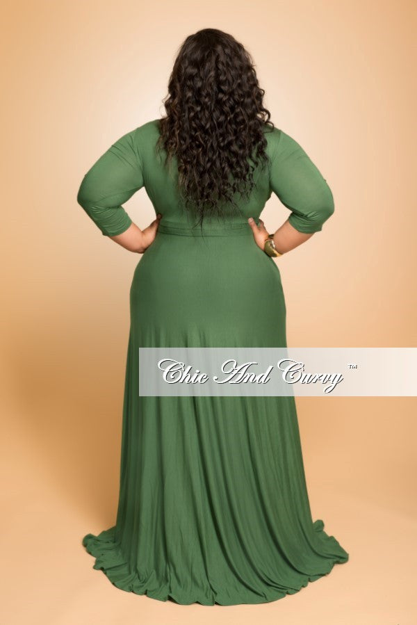 New Plus Size Long Dress with 3/4 Sleeve and Tie in Dark Olive