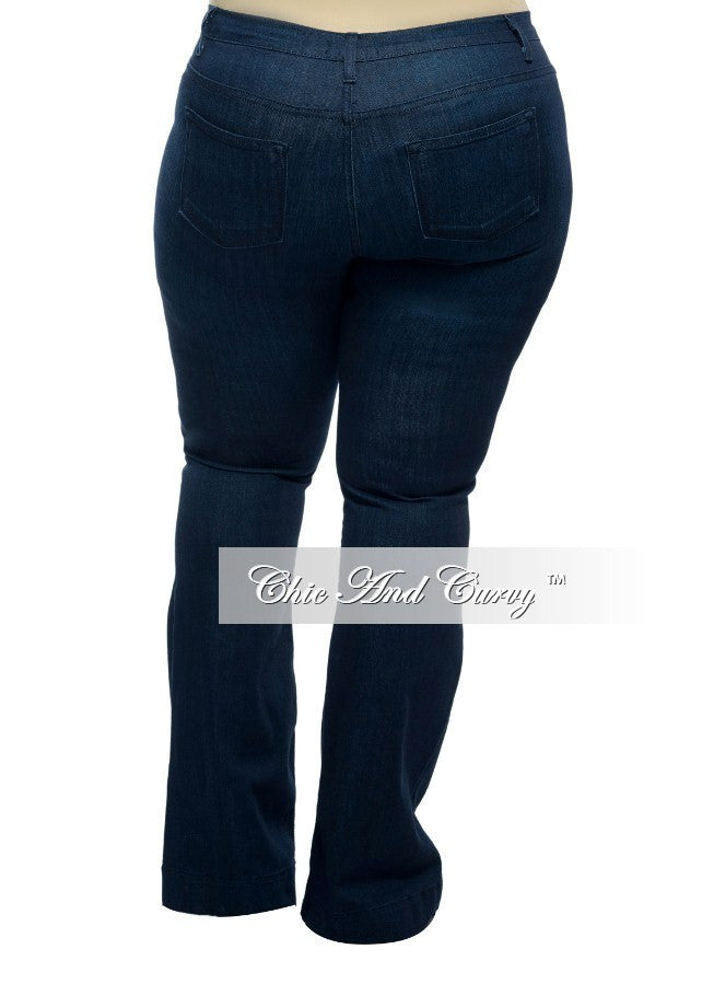 New Plus Size Denim Jeans in Dark Blue