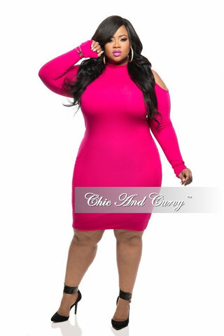 New Plus Size BodyCon with Cold Shoulder and Long Sleeves in Hot Pink