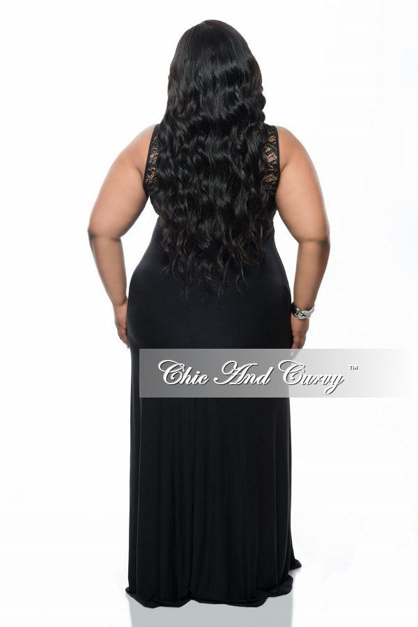 New Plus Size Gown with Lace Front and Back Detail in Black