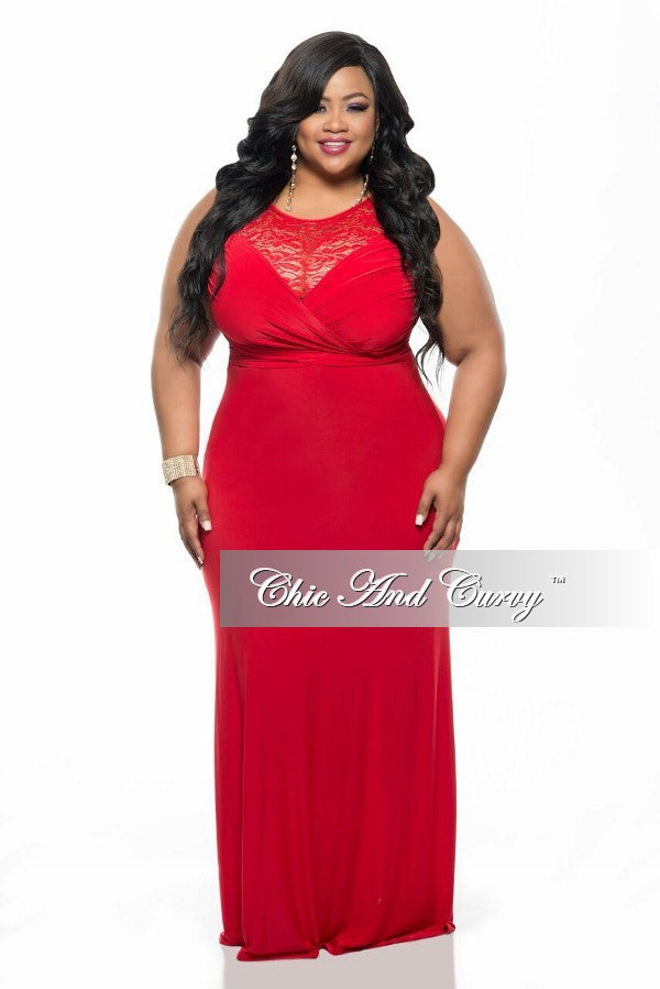 New Plus Size Gown with Lace Front and Back Detail in Red
