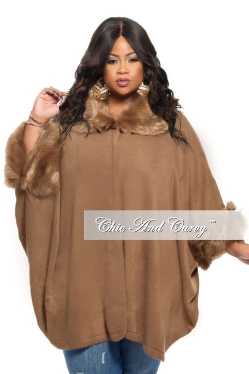 New Plus Size Poncho w/ Faux Fur Collar and Sleeve Trim in  Camel