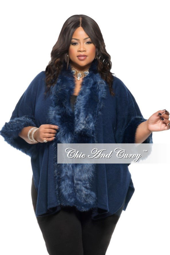 New Plus Size Coat with Faux Fur Collar and Cuff in Navy Blue