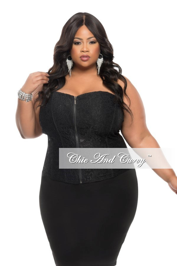 Final Sale Plus Size Strapless Corset Top with Zipper Front in Black 2