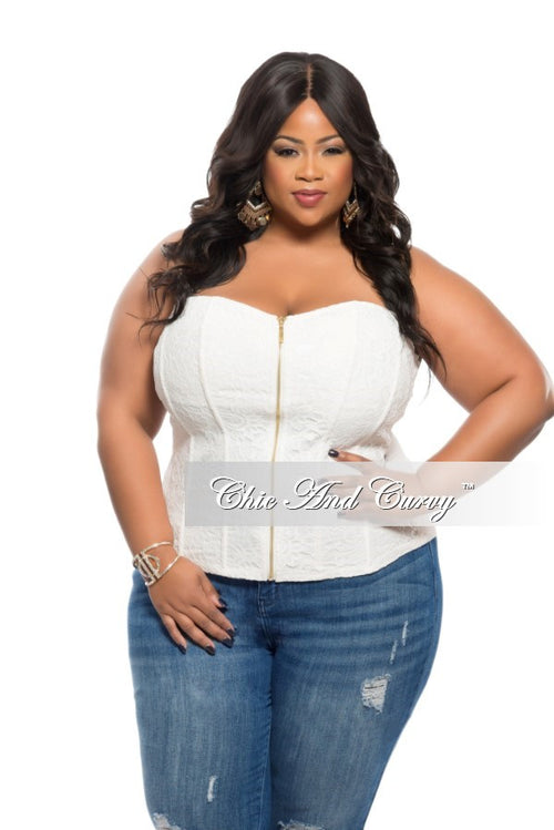 Final Sale Plus Size Strapless Zip Up Bustier Corset Top in with Gold Zipper Front in Ivory