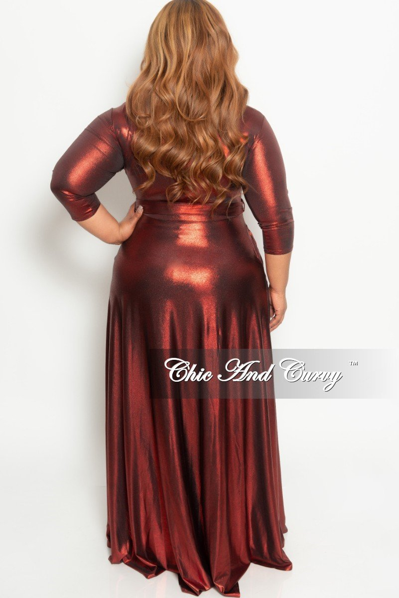 Final Sale Plus Size Gown with 3/4 Sleeves and Tie in Shiny Red (Seasonal)