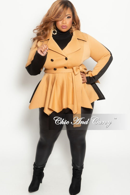 New Plus Size Peplum Jacket in with Front Buttons in Brown and Black