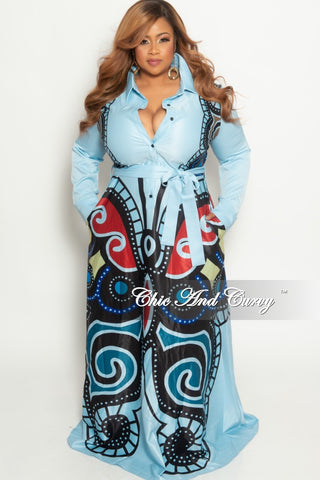 4619d80685e5 Final Sale Plus Size Collar Button Up Long Maxi Dress with Attached Tie in  Powder Blue Multi Color Print