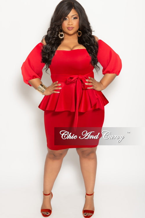 New Plus Size Off the Shoulder Peplum BodyCon Dress with Attached Tie in Red