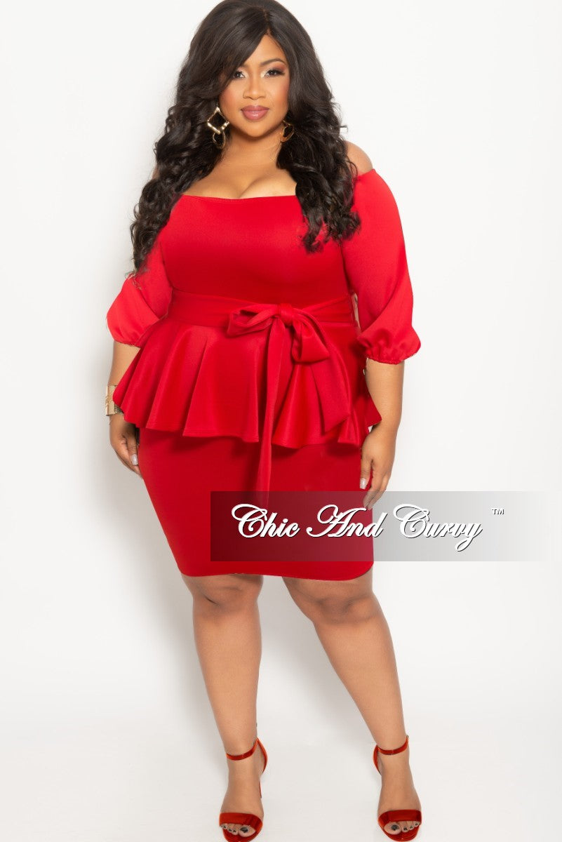New Plus Size Off the Shoulder Peplum BodyCon Dress with Attached ...