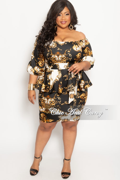 New Plus Size Off the Shoulder BodyCon Peplum Dress with Attached Tie in Black Ivory and Gold