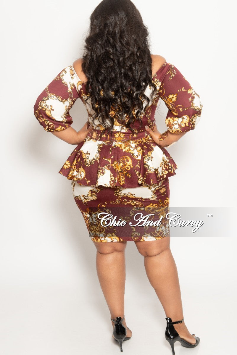 New Plus Size Off the Shoulder BodyCon Peplum Dress with Attached Tie in Burgundy Ivory and Gold
