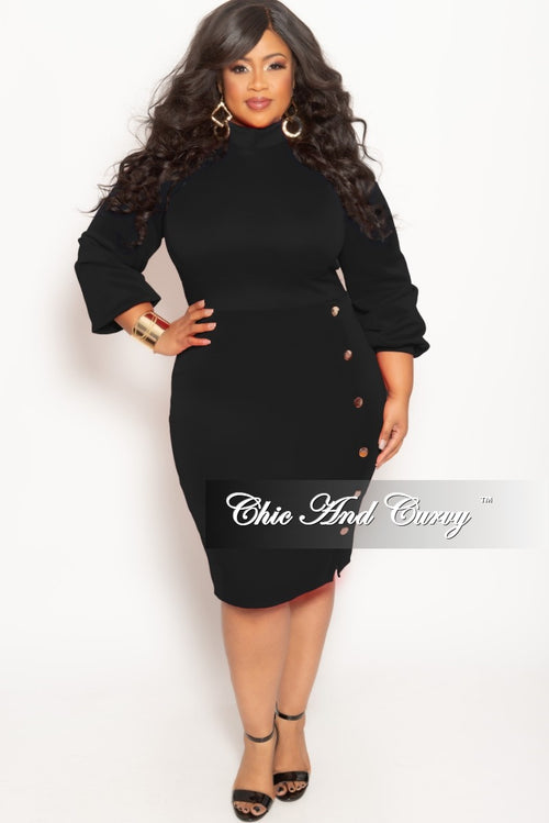 New Plus Size Long Sleeve BodyCon Dress with Front Gold Button and Back Neck Tie in Black