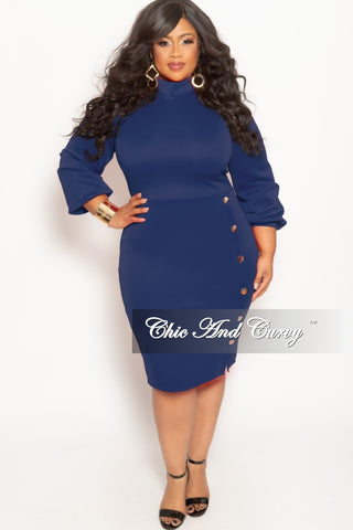 e9b852553cfc1 New Plus Size Long Sleeve BodyCon Dress with Front Gold Button and Back Neck  Tie in Royal Blue