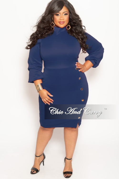 New Plus Size Long Sleeve BodyCon Dress with Front Gold Button and Back Neck Tie in Royal Blue