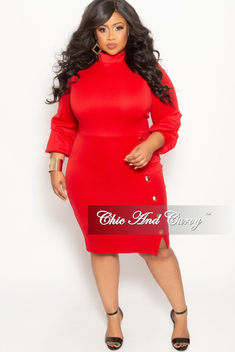 Final Sale Plus Size Long Sleeve BodyCon Dress with Front Gold Button and Back Neck Tie in Red
