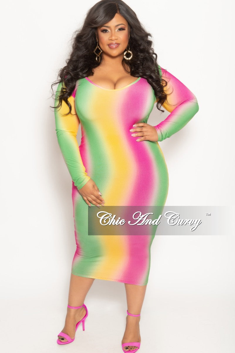 New Plus Size Long Sleeve BodyCon Dress in Fuchsia Yellow and Green Tie Dye Print