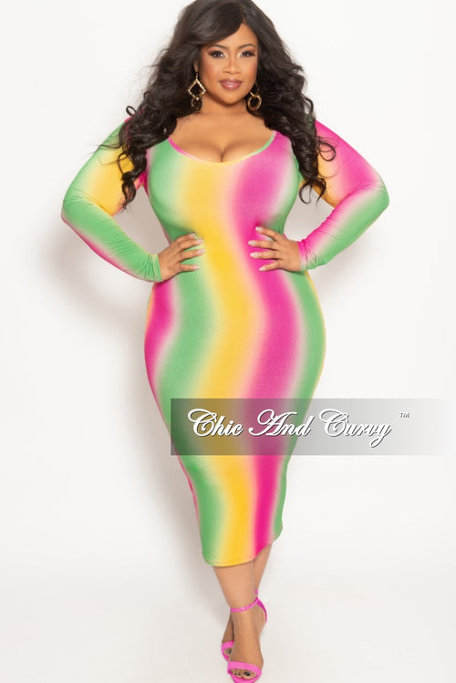 Final Sale Plus Size Long Sleeve BodyCon Dress in Fuchsia Yellow and Green Tie Dye Print