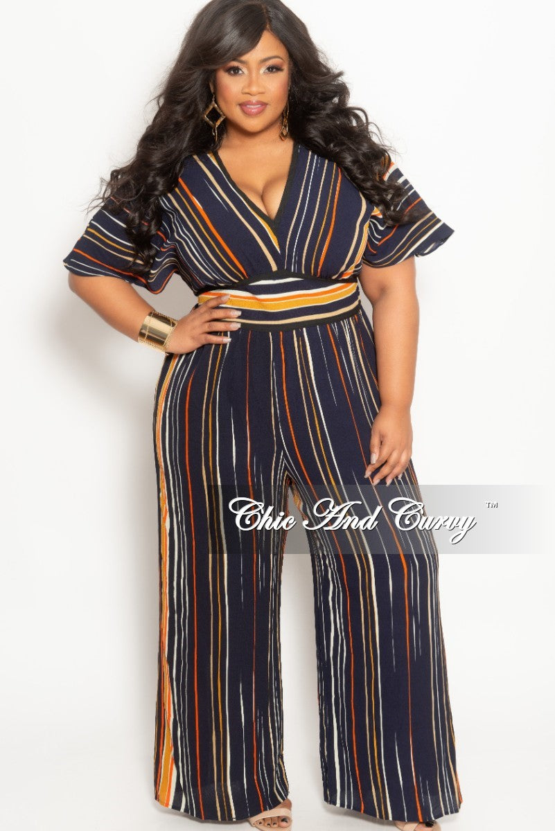 New Plus Size V-Neck Jumpsuit in Navy Orange Cream and Mustard Stripe Print