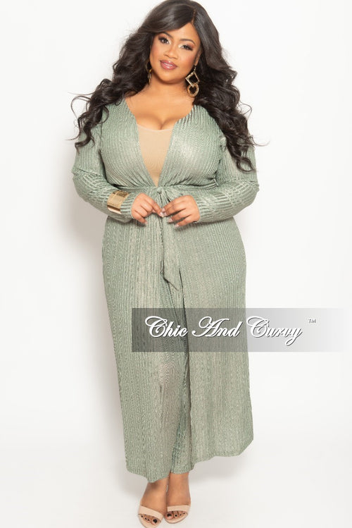 New Plus Size 2-Piece Duster and Pants Set in Olive