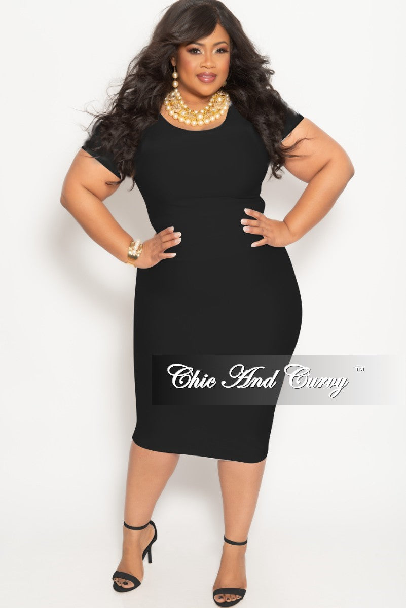 Final Sale Plus Size 2-Piece BodyCon Skirt and Crop Top Set in Black Shimmer