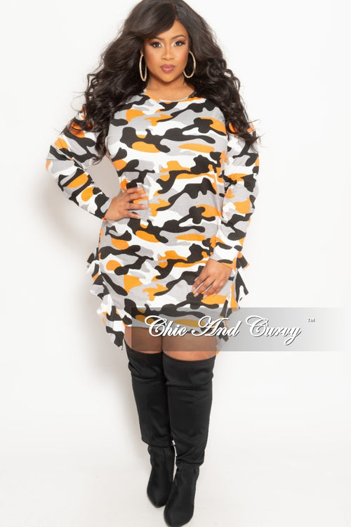 New Plus Size Tunic Dress with Ruffle Bottom Line in Orange Camouflage Print