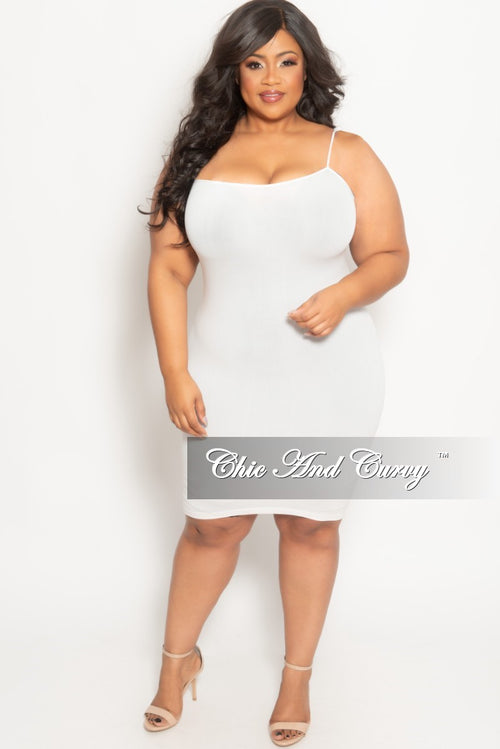 Final Sale Plus Size Spaghetti Strap Camisole Dress in White