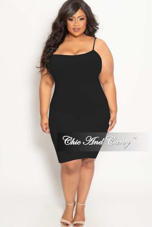 Final Sale Plus Size Spaghetti Strap Camisole Dress in Black