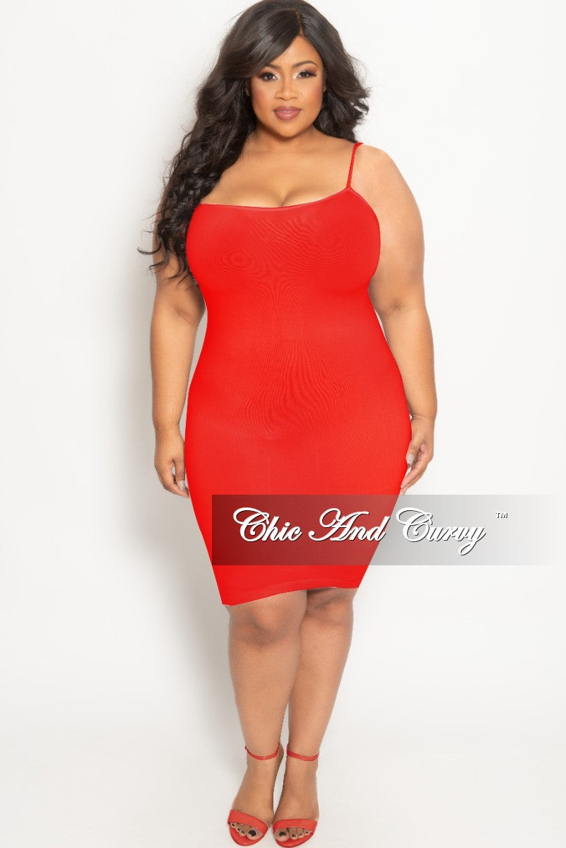 Final Sale Plus Size Spaghetti Strap Camisole Dress in Red